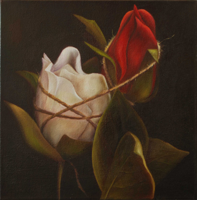 Red Rose, White Rose with Twine. 2005. Oil on canvas. Gallery wrapped.